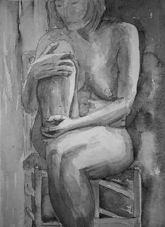 naked woman sitting: Sitting woman holding one knee in black and white. The dabbing technique near the edges gives a soft focus effect due to the altered surface roughness of the paper.