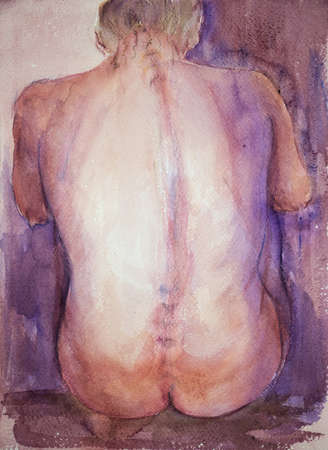 naked woman sitting: Sitting torso seen from behind. The dabbing technique near the edges gives a soft focus effect due to the altered surface roughness of the paper.