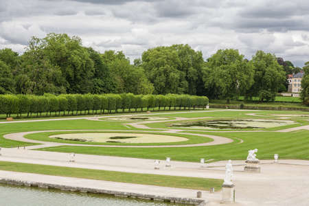 chantilly: View of the French garden of the Castle of Chantilly