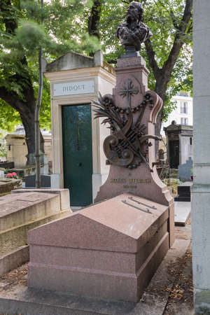 infernal: Editorial: Paris, France, July 31, 2016 - The Tombstone of Jacques Offenbach at the Montmartre cemetery Editorial