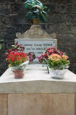 weber: Editorial: Paris, France, July 31, 2016 - The Tombstone of Louise Weber at the Montmartre cemetery