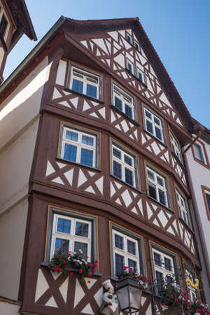 wertheim: Typical half timbered facade of houses along the Romatic Road