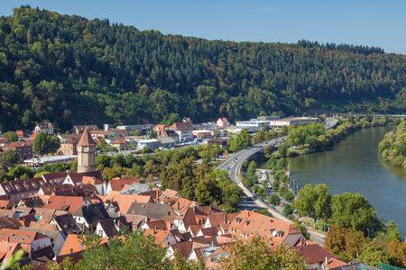 wertheim: Editorial: Wertheim, Baden-Wurttemberg, Germany, September 25, 2016 - View of Wertheim seen from the Wertheim stronghold Editorial