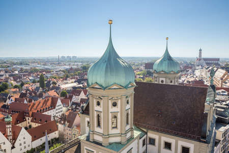 Looking down on Augsburg, seen from the Perlach Tower Standard-Bild