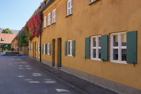 Augsburg, Bavaria, Germany, September 30, 2016 - Side street of the Fuggerei in Augsburg