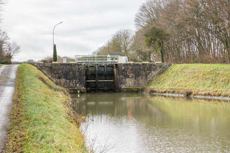 Lock on the Briare Canal near Rogny-les-sept-Ecluses Stock Photo
