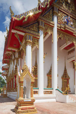 Editorial: PHUKET ISLAND, THAILAND, April 4, 2017 - Side view of the Wat Chalong on Phuket Island