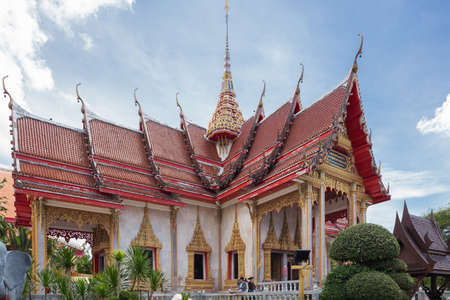 Editorial: PHUKET ISLAND, THAILAND, April 4, 2017 - Overview of the Wat Chaling on Phuket Island