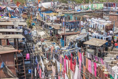 Editorial: MUMBAI, MAHARASHTRA, INDIA, April 12, 2017 - The Mahalaxmi Dhobi Ghat open air laundromat in Mumbai