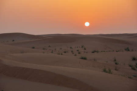 Sunset over sand dunes in close-up in the Dubai desert