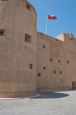 In front of the walls of the Jabrin Castle, at the entrance Stock Photo