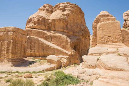 Djinn blocks at Bab Al Siq on the trail to Petra
