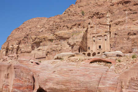 Impressive tombs in the canyon wall along the Street of Facades Stock Photo