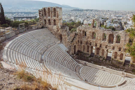 Looking inside the Odeon of Herodes Atticus on the Acrolopis Hill