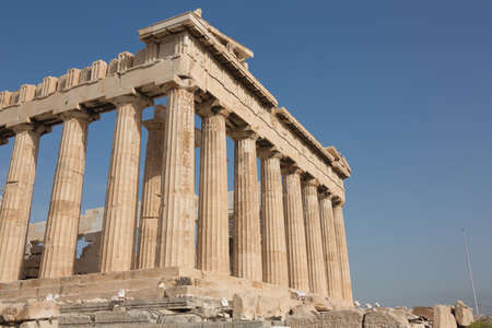 Corner view of the Parthenon on the Acropolis Hill