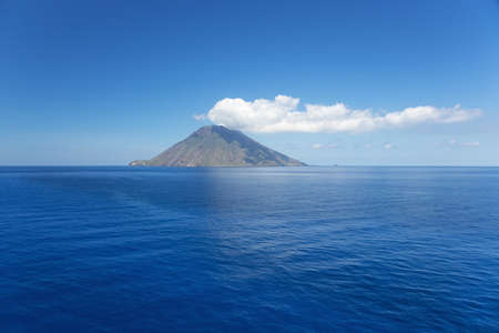 Isolated cloud above Stromboli Island.