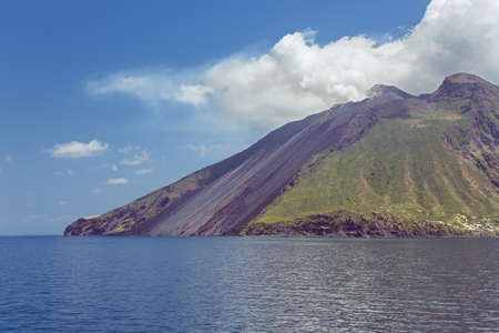 tyrrhenian: Side view of the magnificent Mount Stromboli Stock Photo