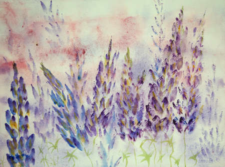 Impression of blueish lupines. The dabbing technique near the edges gives a soft focus effect due to the altered surface roughness of the paper.