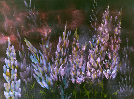 Warm reddish nightly impression of blueish lupines. The dabbing technique near the edges gives a soft focus effect due to the altered surface roughness of the paper.