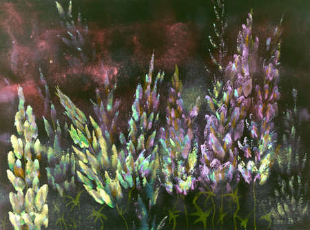 Warm reddish nightly impression of yellow and pink lupines. The dabbing technique near the edges gives a soft focus effect due to the altered surface roughness of the paper. Stock Photo