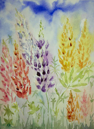 Impression of blueish lupines from a low viewpoint. The dabbing technique near the edges gives a soft focus effect due to the altered surface roughness of the paper.