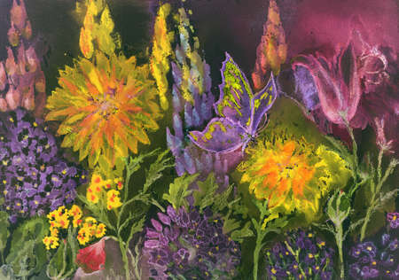 Garden at night with marigold, Hydrangea macrophylla, lupine and poppies. The dabbing technique near the edges gives a soft focus effect due to the altered surface roughness of the paper.
