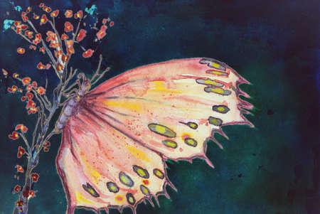 夜空に対して桜の枝に座っている色とりどりの蝶。エッジの近く軽くたたくテクニックは、用紙の変更の表面粗さによるソフト フォーカス効果を与
