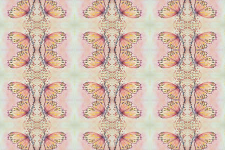 A repetitive pattern of a butterfly sitting on a sakura branch. The dabbing technique near the edges gives a soft focus effect due to the altered surface roughness of the paper.