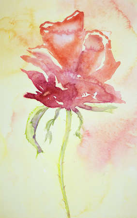 herbaceous: Side view of a naive rose. The dabbing technique near the edges gives a soft focus effect due to the altered surface roughness of the paper. Stock Photo