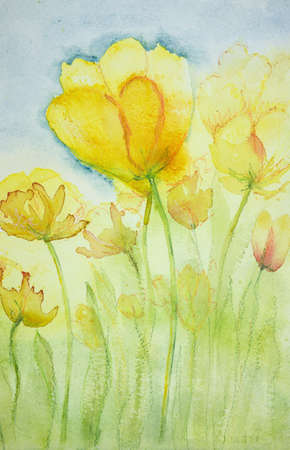 Impression of yellow tulips. The dabbing technique near the edges gives a soft focus effect due to the altered surface roughness of the paper. Stock Photo