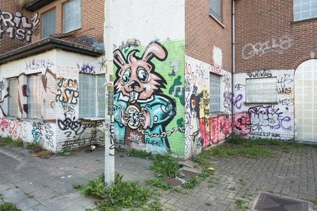Doel のゴーストタウンで生い茂った歩道と落書き