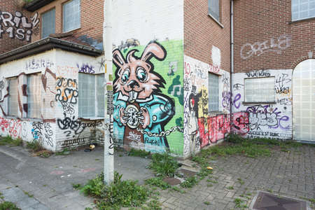 Overgrown sidewalk and graffiti in the ghost town of Doel