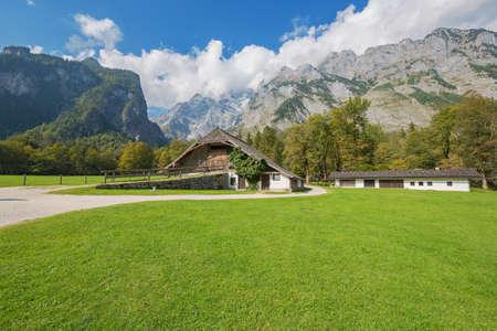 Farm on the Hirschau peninsula with the Watzmann massif