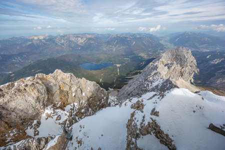 View of Garmisch-Partenkirchen with Eibsee and its lake, seen from the summit of the Zugspitze