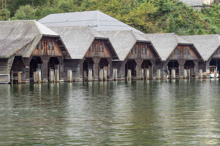 Boathouses to shelter the tourist tour boats on the Konigssee