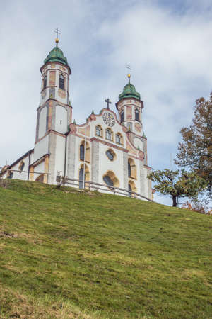 Looking up at the Church of the Holy Cross on the Calvary Hill, overlooking the Isar Valley and Bad Tolz Stock Photo