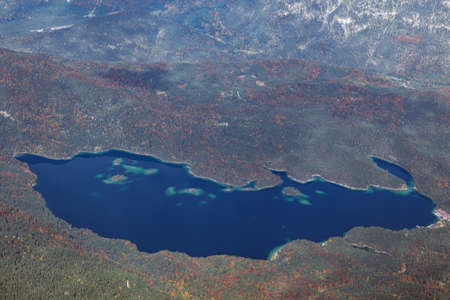 Close up of the Eibsee, seen from the summit of the Zugspitze Stock Photo