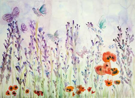 Lavendel veld met papavers en vlinders. De deptechniek nabij de randen geeft een zacht focuseffect door de veranderde oppervlakteruwheid van het papier. Stockfoto