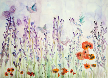 Lavender field with poppies and butterflies. The dabbing technique near the edges gives a soft focus effect due to the altered surface roughness of the paper. Zdjęcie Seryjne - 91036131