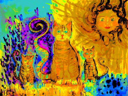 Pop art ginger cat with two kitten on a sunny day in a lavender field. The dabbing technique near the edges gives a soft focus effect due to the altered surface roughness of the paper. Stock Photo