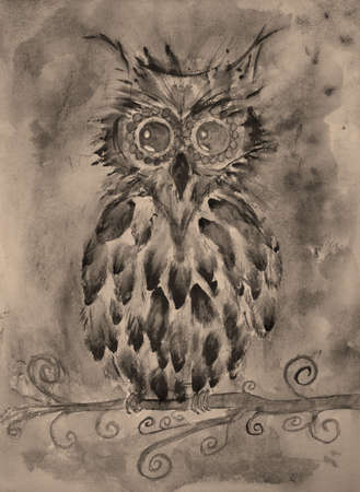 Retro fantasy owl in sepia on a branch. The dabbing technique near the edges gives a soft focus effect due to the altered surface roughness of the paper.