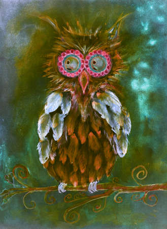 Folk art fantasy owl on a branch. The dabbing technique near the edges gives a soft focus effect due to the altered surface roughness of the paper. Stock Photo