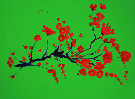 Branch of cherry blossoms on a green background. The dabbing technique gives a soft focus effect due to the altered surface roughness of the paper.