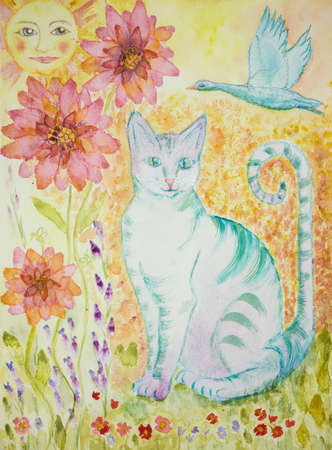 Turquoise cat with greenish eyes, flying goose, sun and flowers. The dabbing technique gives a soft focus effect due to the altered surface roughness of the paper. Stock Photo