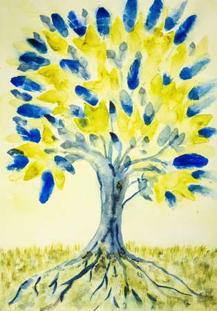 Folk art tree of life with yellow and blue leaves. The dabbing technique gives a soft focus effect due to the altered surface roughness of the paper.