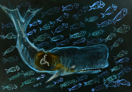 Jonah and the whale surrounded by many fishes during the night. The dabbing technique gives a soft focus effect due to the altered surface roughness of the paper.
