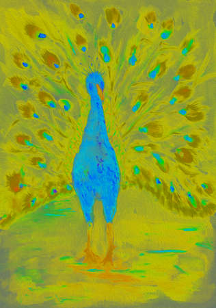 Blue peacock with yellow and blue feathers seen from the front. The dabbing technique gives a soft focus effect due to the altered surface roughness of the paper.