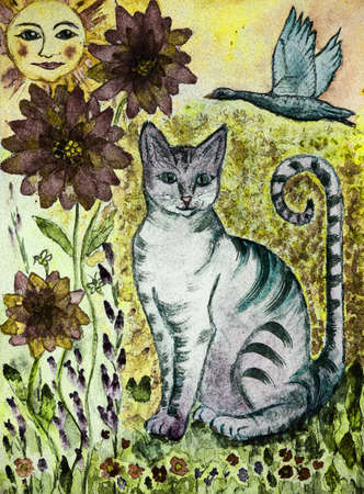 Rustic turquoise cat with greenish eyes, flying goose, sun and flowers. The dabbing technique gives a soft focus effect due to the altered surface roughness of the paper.