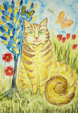 Striped ginger folk art cat with tree of life. The dabbing technique gives a soft focus effect due to the altered surface roughness of the paper.