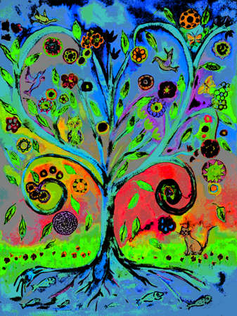 Pop art tree of life. The dabbing technique gives a soft focus effect due to the altered surface roughness of the paper. 版權商用圖片 - 91451829